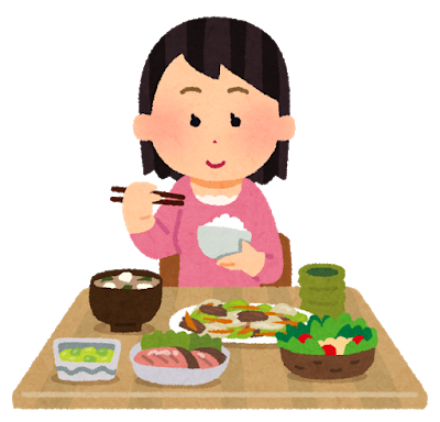 食事している女のイラスト